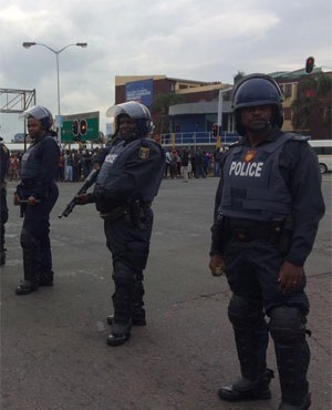 Some of the riot police officers in Durban (Jeff Wicks, News24)