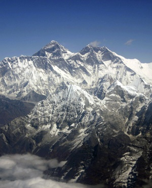Mount Everest from an aerial view taken over Nepal. (Jody Kurash, AP)