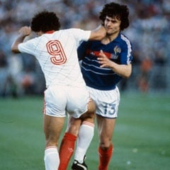 Didier Six is challenged by Chalana during the Euro 1984 Semi-Final (Getty Images)