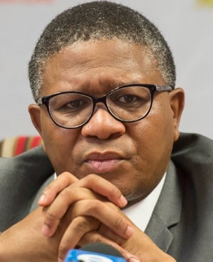 Police Minister Fikile Mbalula addresses the media. (Deaan Vivier, Gallo Images, Beeld)