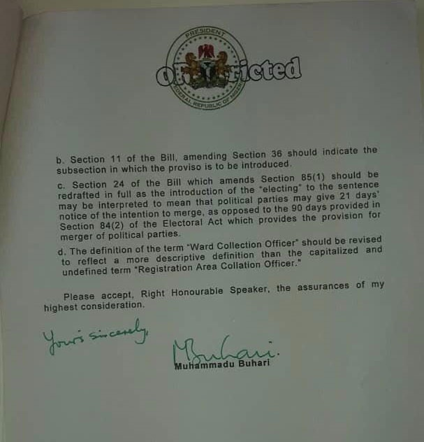 Letter to the House of Assembly declining assent t