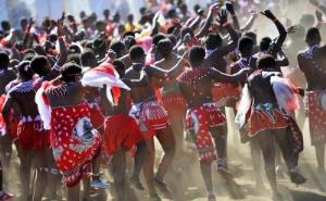 A file image of thousands of young girls dressed in traditional Zulu attire attended the annual ceremony known as the Umkhosi Womhlanga/Reed Dance, which is a centuries-old tradition.
