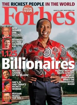 South African mining tycoon and Mamelodi Sundowns football team owner Patrice Motsepe has not only made it on to the Forbes list of the world's billionaires, he adorns the cover of the issue of March 24, 2008.
