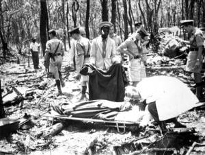 Bodies of victims at the crash site of the DC6B aircraft carrying UN Secretary-General Dag Hammarskjold near Ndola, Northern Rhodesia in 1961.