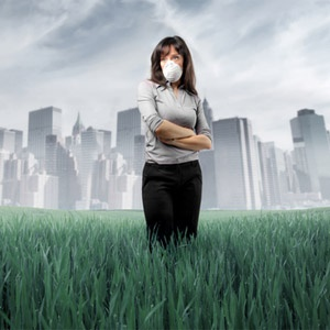 Woman with anxiety in a polluted city field
