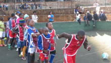 English soccer legends do community outreach in SA