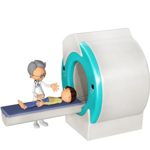 Kid having Magnitude-based MRI checking for liver