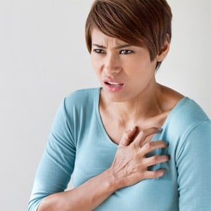 Woman having symptoms of a stroke