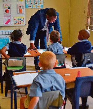 Gauteng education MEC Panyaza Lesufi visits the Curro Private School in Pretoria in February. A group of parents lodged a complaint claiming that there was racial segregation at the school. Picture: Gallo
