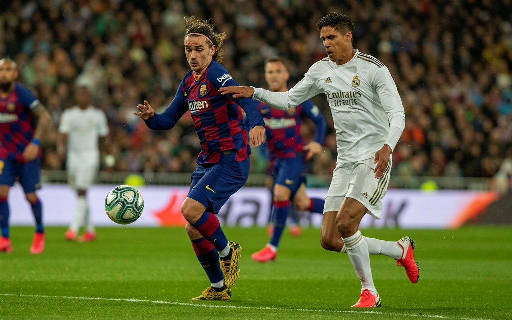Antoine Griezmann and Raphael Varane during an El Clasico clash. Picture: Supplied