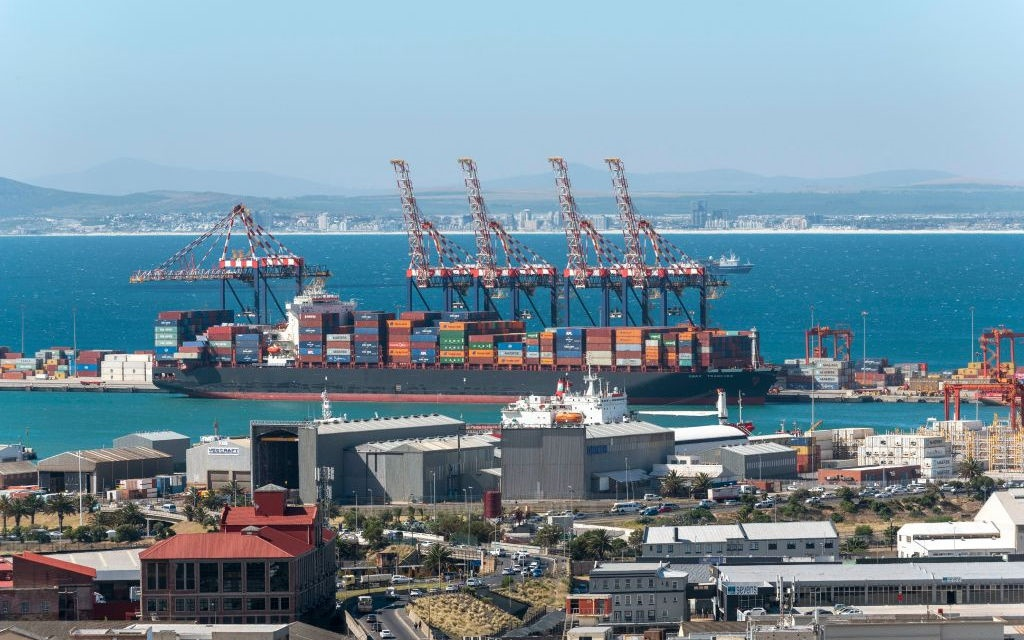 An overview of Cape Town port and docks area looking to Table Bay harbour and the west coast.
