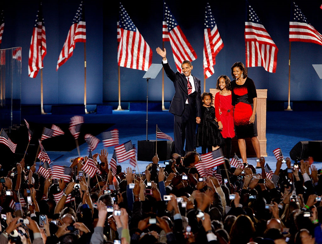 Barack Obama, his daughters Sasha and Malia and his wife Michelle on the stage on Hutchinson Field in Grant Park in Chicago. (Photo by Orjan F. Ellingvag/Dagbladet/Corbis via Getty Images)