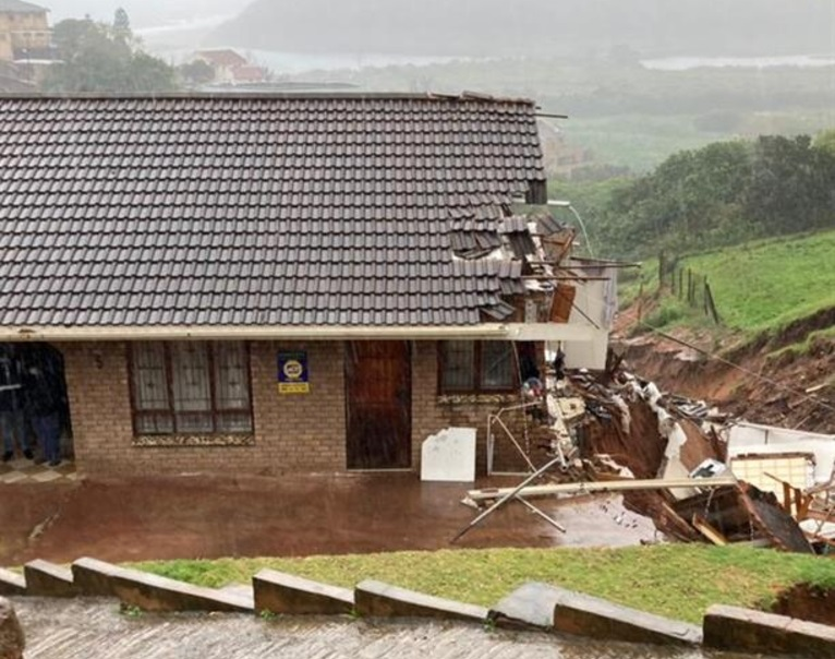 A landslide in Durban, KwaZulu-Natal left extensive damage to a house while another house collapsed in KwaDukuza.