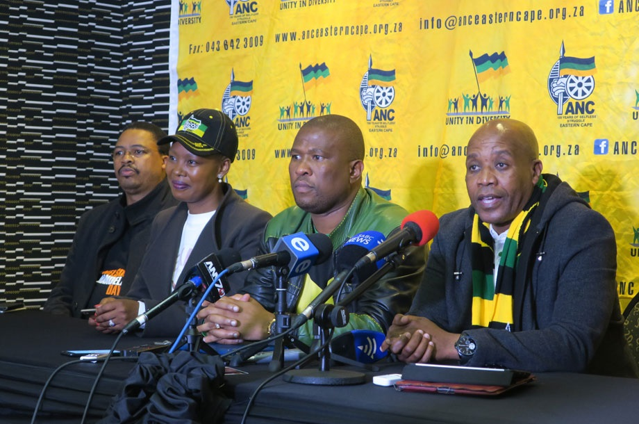 From left to right: ANC provincial leaders, spokesperson Mlibo Qoboshiyane, PEC member and head of communication Stella Ndabeni-Abrahams, provincial secretary Oscar Mabuyane, and chairperson Phumulo Masualle. Picture: Luababalo Ngcukana/City Press
