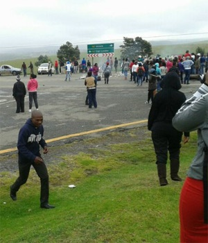 Students protest outside Walter Sisulu University in Mthatha.