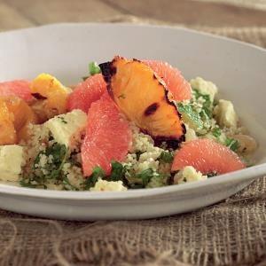 recipe, salad, couscous, pineapple, fuit, grapefru