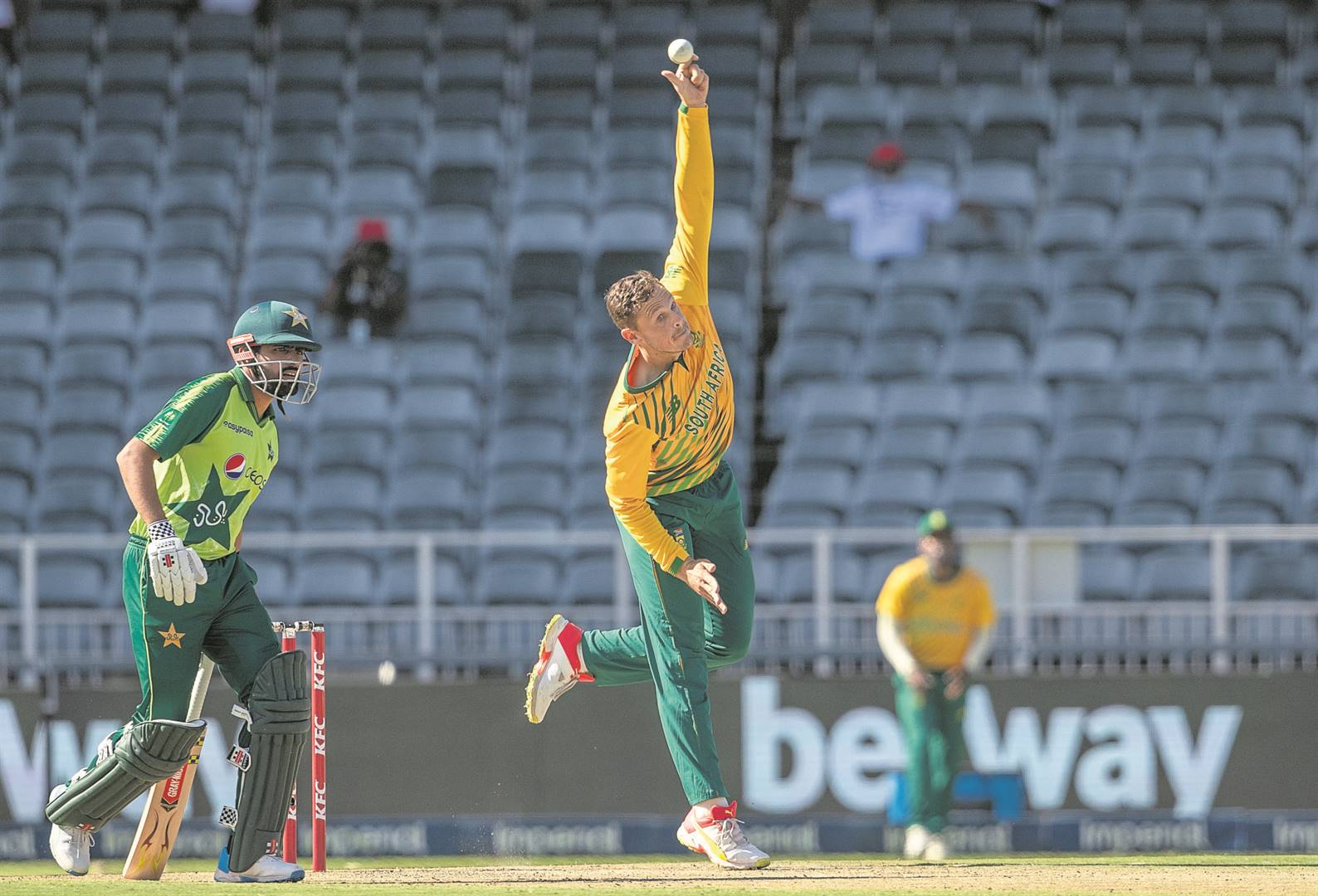 George Linde performed well with the ball for the Proteas on Monday.