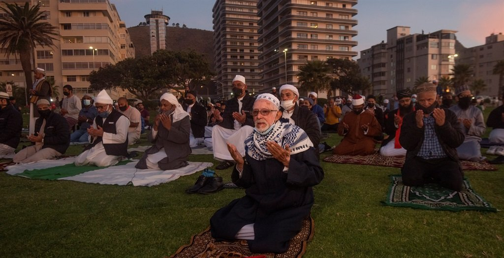 Head of the Crescent Observers' Society (COS) Imam Yusuf Pandy and Muslim clergy gather for the annual sighting of the moon at Three Anchor Bay, Cape Town, on Monday 12 April 2021.