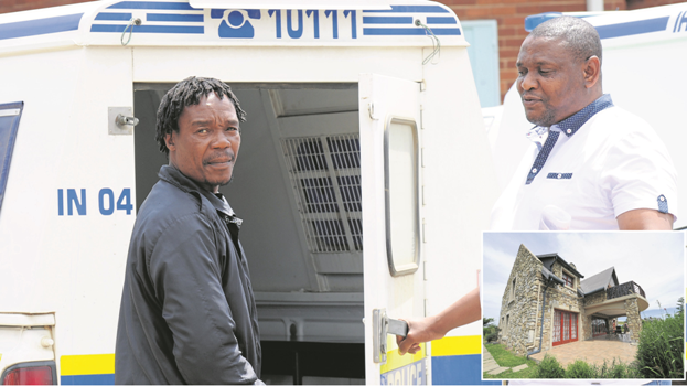 Murder accused Thulani Mthembu is led to the cells at the Howick police station by investigating officer, Warrant Officer Sikhumbuzo Nicholas Mdunge on Friday. Mthembu appeared briefly at the Howick Magistrate's Court on Friday after being arrested on Tuesday for the murder, kidnapping and robbery of Christine (57) and Roger (66) Solik at The Bend estate outside Nottingham Road. INSET: The house at The Bend estate in Nottingham Road from which Christine and Roger Solik were kidnapped and later murdered.