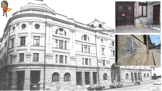 A file photograph of the post office in Langalibalele Street. INSET: (top) Vagrants sleep in the entrance of the post office in Langalibalele street. (bottom) The cracked wall and sign at the entrance to the post office in Langalibalele Street.