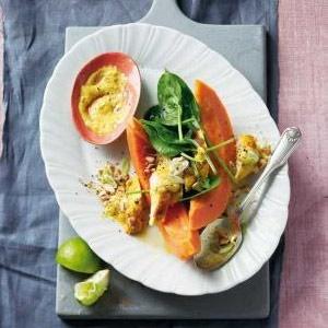 recipe, chicken, pawpaw, salad,curry