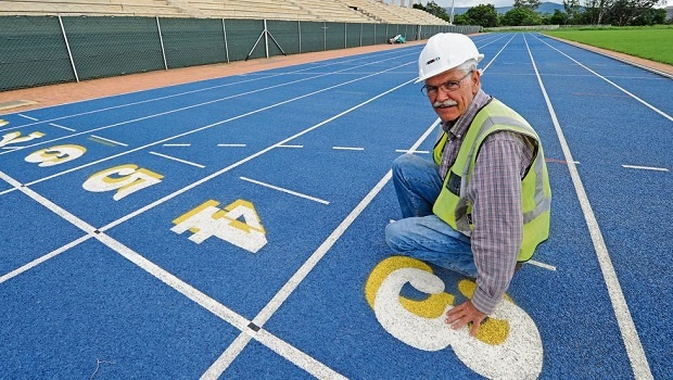 Resident engineer Gert Kotze stands at the site of the new athletics track next to Harry Gwala Stadium.