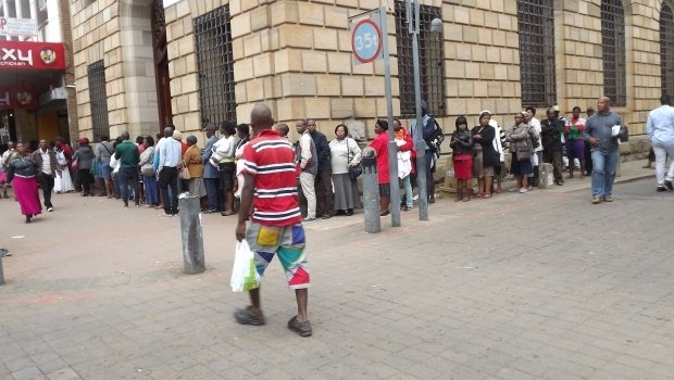 A queue outside Home Affairs on Church Street, Pietermaritzburg.