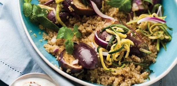 recipe, quinoa, baby marrow, eggplant,yoghurt,sala