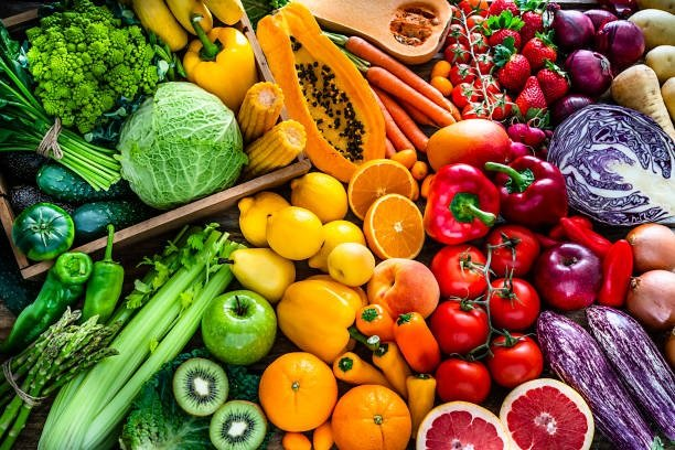 High angle view of a large assortment of healthy f
