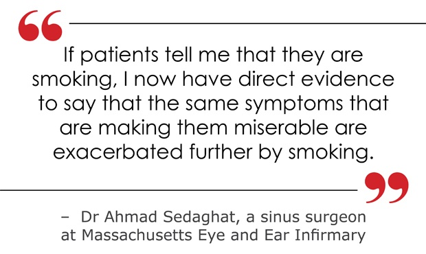 smoking causes risk for sinusitis