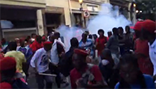 WATCH: Riot police fire stun grenades at protesting EFF members near Parliament