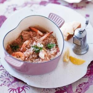 recipe, parwns, seafood, rose,risotto