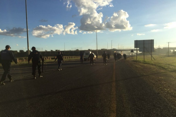 Police patrol the streets of Mahikeng to quell protests. (Iavan Pijoos/News24)