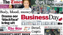 NEWSPAPERS: Cash-filled jet, Gupta deal and 'blackface'