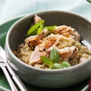 recipe, salad, quinoa, salmon,tomato