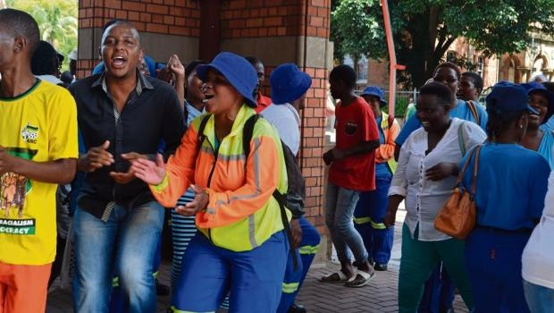 Msunduzi Municipality workers protesting at the main entrance of the City Hall against the alleged plot to oust Municipal Manager Mxolisi Nkosi.
