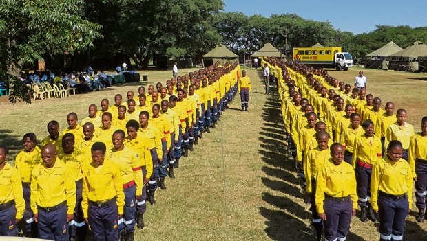 South African firefighters from Working on Fire at a recent training camp before their departure for Canada.