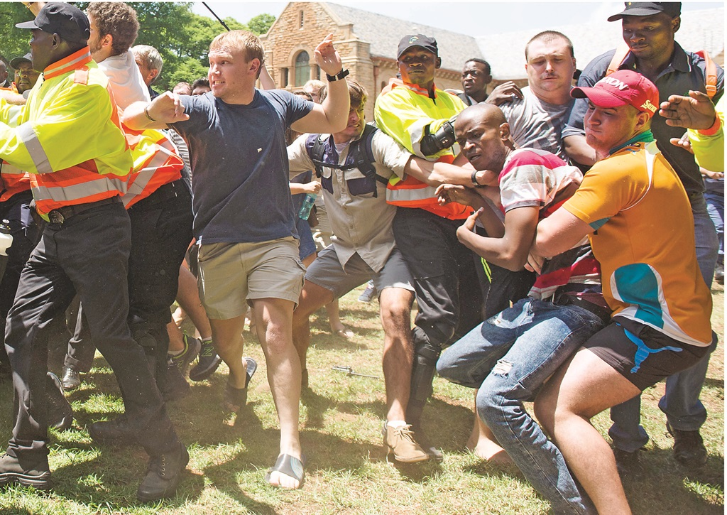 English and Afrikaans students on the main campus of the University of Pretoria during a clash over the university's medium of instruction. Picture: Deaan Vivier