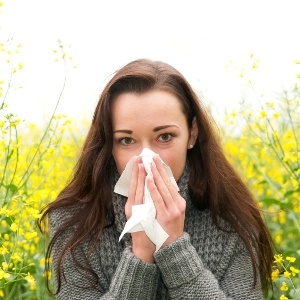 woman treating hay fever
