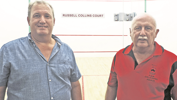 Midlands Squash Union governor Mike Short (left) with Collegians Squash Club chair Greg Walters at the opening of the city's first doubles squash court.
