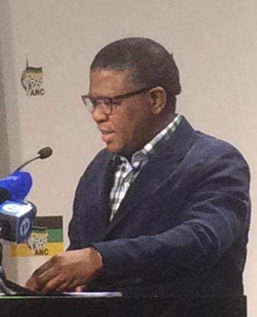 ANC's head of the subcommittee on organisational development Fikile Mbalula at a media briefing on organisational renewal. (Tshidi Madia)