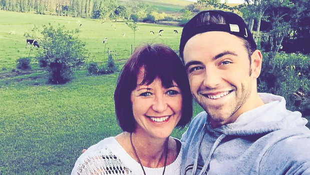 Mandy Tyrer with her son, Jarryd Nurden, on the farm where the shooting star landed on Thursday.