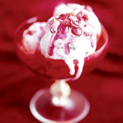 Pistachio and pomegranate semifreddo