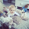 Hunter is just surrounded by cute easter bunnies