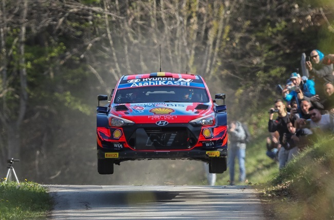 Thierry Neuville in the Hyundai Shell Mobis World Rally Team Hyundai i20 Coupe WRC during the FIA World Rally Championship Croatia (Photo by Luka Stanzl/Pixsell/MB Media)