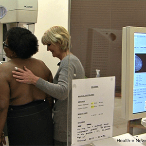 Woman having a mammogram for cancer