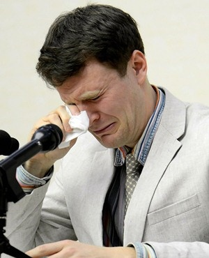 A February  2016 photo of Otto Warmbier at a press conference in Pyongyang. (AFP Photo)