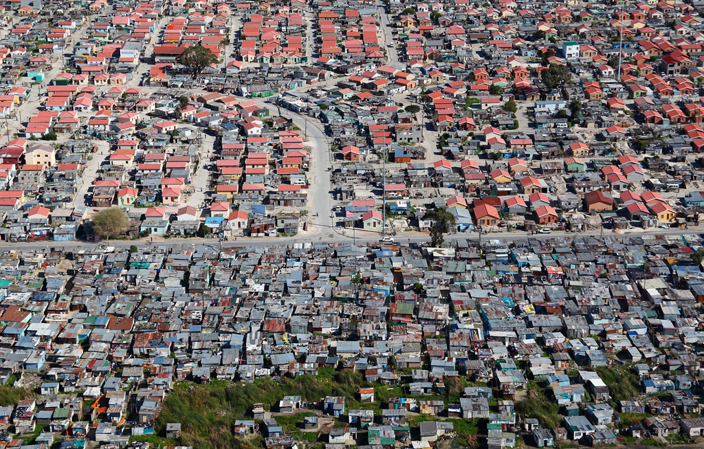 Aerial photo of a Khayelitsha township, Cape Town,