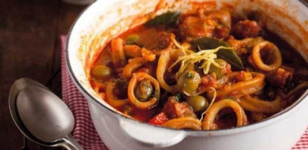 recipe, calamari, chorizo,stew