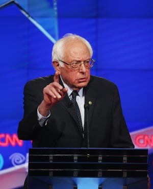 Democratic Presidential candidate Bernie Sanders during debate against Hillary Clinton in New York. (Justin Sullivan, AFP)